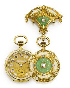 LEROY & FILS AN ELEGANT YELLOW GOLD, ENAMEL AND DIAMOND OPEN-FACED PENDANT WATCH CASE 25867 CIRCA 1910