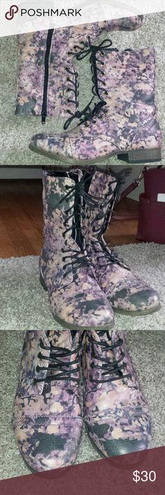 Floral combat boots ! Shoes Combat & Moto Boots