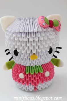 "DIY - How To Create A 3D Origami Hello Kitty - ""Krok po kroku"" DIY: Hello Kitty Origami 3D"