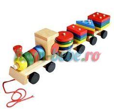 Trenulet de jucarie din lemn cu forme geometrice Wooden Toys, Car, Figurine, Geometry, Wooden Toy Plans, Wood Toys, Automobile, Woodworking Toys, Autos