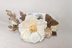 Pearly Queen - pretty vintage bridal leather cuff bracelet, ivory roses, collage, assemblage, butterfly, bride, bridesmaid, $60.00