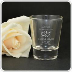 Our Shot Glasses personalised with your bridal party guest names make a unique bonbonniere and great toasting gift.