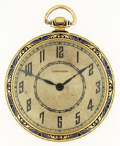 Longines 18k YG Open Face Pocket Watch 'Art-Deco', c. 1920's