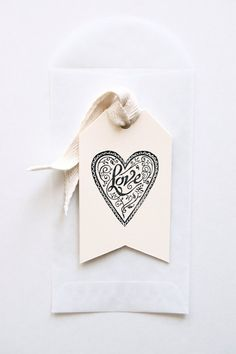 Letterpress Valentine Tags - Set of 6