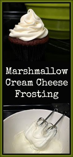 Marshmallow Cream Cheese Frosting Perfect on carrot cake or pumpkin cupcakes Cupcake Recipes, Baking Recipes, Cupcake Cakes, Dessert Recipes, Icing Frosting, Marshmallow Cream Frosting, Whipped Cream Cheese Frosting, Marshmallow Cake, Chocolate Cake With Cream Cheese Frosting Recipe