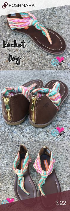 Rocket Dog Boho Style Sandals Rocket Dog  Boho Style Sandals Size 10  Multi Colored with Trendy Zippered Back  Like New Condition w/ No known defects ❌❌ NO TRADE ❌❌ Bundle & Save More ✌️️ Rocket Dog Shoes Sandals