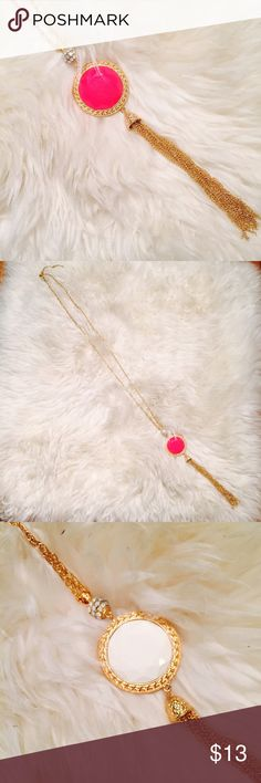 Long Pink | White Gold Necklace EUC Super cute necklace, long and perfect to Spice up an outfit, no issues, like new Jewelry Necklaces
