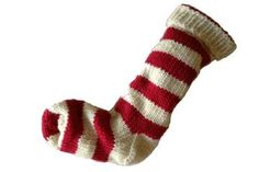 Christmas Stocking Hand Knit White and Red Striped  by eweandmeyarns for $44.00