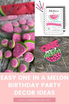 The best ideas for hosting a modern and fun One in a Melon 1st birthday featuring watermelon themed invitations, cake, cookies, outfits, party favors, decor, high chair banners, cake toppers, thank you cards and stickers, and more. Kids Birthday Themes, Birthday Invitations Kids, Birthday Party Decorations, 1st Birthday Parties, Girl Birthday, Party Favors, One In A Melon, High Chair Banner, Party Guests