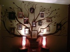 Cool family tree art.  I love that it's simple enough for anyone to paint even without any artistic background. #familyphotosdisplayidea #familytreemural