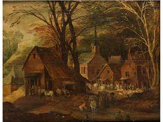 Flämische Schule des 17. Jahrhunderts  DORFANSICHT AM WALDESRAND Öl auf Holz. Parkettiert. 50 x 64 cm. Minimal besch. (1130432) (12)