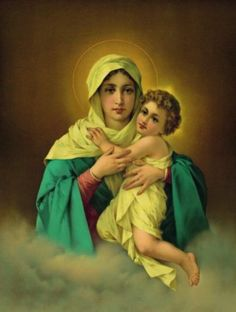 An Infant Jesus with Our Lady Blessed Mother Mary, Blessed Virgin Mary, Immaculée Conception, Hail Holy Queen, Mother Day Message, Queen Of Heaven, Sainte Marie, Mary And Jesus, Holy Mary