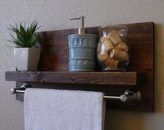 Modern Rustic 2 Tier Bathroom Wall Shelf