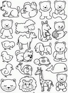 Easy Drawings For Kids, Drawing For Kids, Art For Kids, Animal Coloring Pages, Free Coloring Pages, Coloring Books, Animal Drawings, Cute Drawings, Kindergarten Coloring Pages