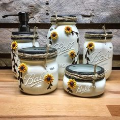 Sunflower Ivory and Bronze Mason Jar Bathroom Set or Office Desk Organizer, Farmhouse Style Bath Decor Soap Dispenser
