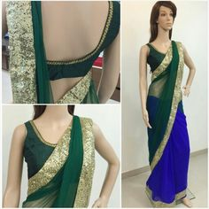Green and blue half n half saree with sequins border