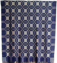 Antique Double Weave Geometric Coverlet Pennsylvania C 1820 Indigo Blue White | eBay