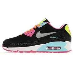 big sale 70b8e 4b0e9 For Women Nike Air Max 90 Trainers Black Silver Pink Light Blue Stockist