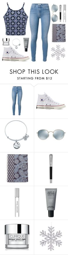 """❄️:))"" by ninazimmerman ❤ liked on Polyvore featuring Converse, Alex and Ani, Ray-Ban, Vera Bradley, Versace, Michael Kors, MAKE UP FOR EVER, Clinique and Miss Selfridge"