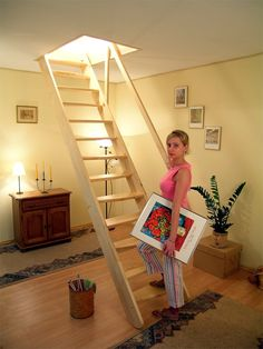 Redo Stairs, Garage Stairs, Stairs Window, Tiny House Stairs, Loft Stairs, Staircase Design Modern, Home Stairs Design, Home Building Design, Tiled Staircase