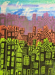 Cassie Stephens: In the Art Room: Printmaking Made Easy! (6th grade, famous city skyline or our town)