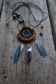 Pendant dream catcher, eco dream catcher, hand made dream catcher, blue dreamcatcher, necklace