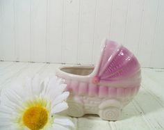 Vintage Ceramic Pastel Baby Bassinet Figure by DivineOrders, $9.00