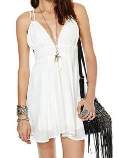 White Spaghetti Straps Deep V Neck Crossed Tie Backless Dress