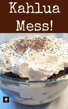 When I first saw this Kahlua Mess made by our foodie Peggy Mitchell I thought it was awesome! I had to ask Peggy immediately for her recipe as I knew it would be a good one. Peggy is a great cook, and baker. Always making cakes for friends and families, and this is just one of many desserts that she can make! So let's see how to make this delicious Kahlua Mess. It sure takes my breath away when I see this! It's kind of like a trifle but better! Recipe from Peggy Mitchell Prep Time: ...