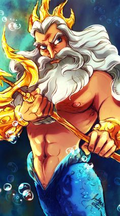 King Triton (from The Little Mermaid) fan art - by MistyTang on deviantART Disney Pixar, Walt Disney, Disney And Dreamworks, Disney Animation, Disney Cartoons, Disney Characters, Dreamworks Movies, Disney Artwork, Disney Fan Art