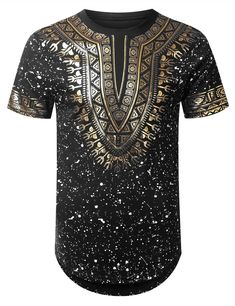 BLACK Splatter Dashiki Longline T-shirt - URBANCREWS