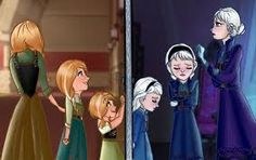 I love how in the first and second ages Anna is chasing Elsa but in the third age, Elsa is trying to find the courage to chase Anna.
