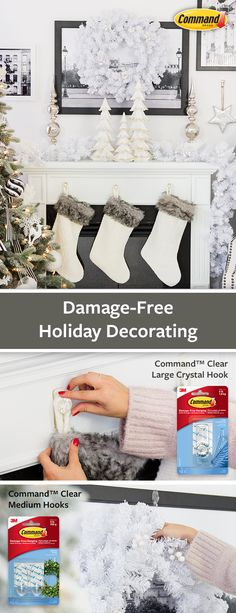 Decorate for the holidays with Command™ Brand Clear Crystal Hook and Clear Medium Hooks to let your décor shine. Turn your holiday mantle ideas into reality; go all out and then take it down damage-free after the holidays. #DamageFree