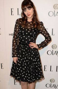 Zooey Deschanel sports this fun dress with a '50s twist! #ModestIsHottest #Modesty