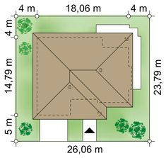 Działka 26.06 × 23.79 m domu Kaprys IV Beautiful House Plans, Beautiful Homes, Roof Design, House Design, My House Plans, Floor Plans, How To Plan, Compact, Architectural Plants