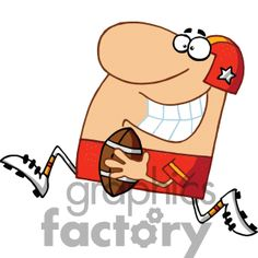 cartoon Football player running for a touchdown clipart. Football Clip Art, Football Players, Vector Clipart, Graphics, Cartoon, Running, Fictional Characters, Social Networks, Soccer Players