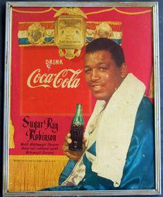 1952 Sugar Ray Robinson Vintage Look Reproduction Metal Sign Celebrity Advertising, Advertising History, Retro Advertising, Vintage Advertisements, Vintage Ads, Vintage Signs, Coca Cola Poster, Coca Cola Ad, Always Coca Cola
