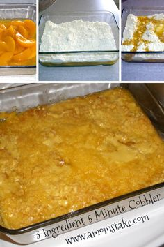 3 Ingredient Peach Cobbler in 5 Minutes Recipe via @amomstake