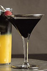 Black Cat Martini  1 part black vodka    1 part Chambord    Shake ingredients over ice and strain into a martini glass.