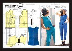 Modelagem de blusa releitura dos anos 70. Fonte: https://www.facebook.com/photo.php?fbid=563435317025711=a.426468314055746.87238.422942631074981=1