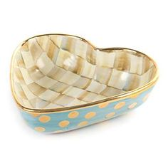 MacKenzie-Childs Parchment Check Heart Bowl - Large