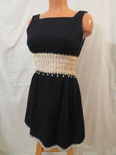 Little Black Dress Vintage Beaded Open Back A Line Mod Mini Embellished 4 XS S | eBay