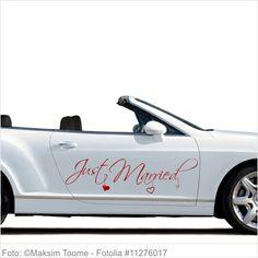 Autoaufkleber Hochzeit - Just Married mit kleinen Herzen