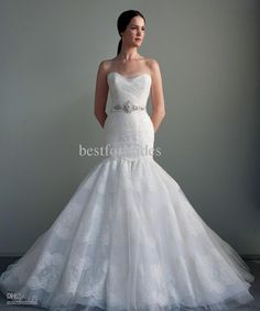 Wholesale Strapless Sweetheart Organza Appliques Trumpet Mermaid Eve Of Milady amp; Amalia Carrara Wedding Gowns Bridal Dresses, Free shipping, $346.59/Piece | DHgate
