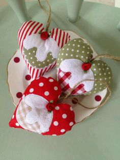 Handmade Christmas heart and pudding hanging decoration- hessian rope, stripes and polka dots