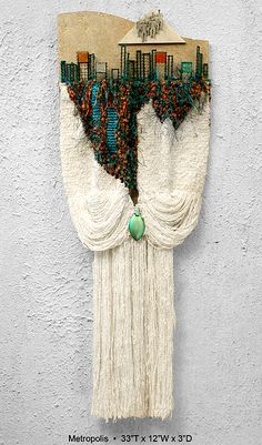 I like the gathered hanging parts for this, but I think different subject would be betterEntitled Metropolis by FibrationsStudio on EtsyPosts about fiber art written by fibrationstudio Weaving Projects, Weaving Art, Tapestry Weaving, Loom Weaving, Wall Tapestry, Hand Weaving, Textile Fiber Art, Textile Artists, Tear