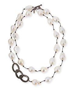 """Margo Morrison Baroque Pearl & Black Spinel Link Necklace, 35"""""""