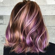 Golden hair with holographic dark pastel purples. Lovely shoulder length hair