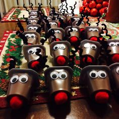 Kids holiday party crafts!! pudding cup reindeer !!