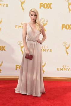 Emma Roberts in a custom Jenny Packham dress. High fashion | fashion | red carpet fashion | Emmy Awards 2015 | Emmys 2015 | Galleria Dallas